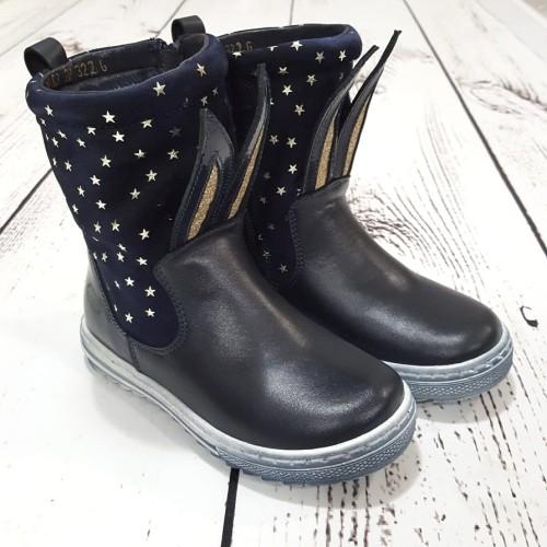 Buty zimowe skórzane kozaki Modo Shoes 32 03 Czarny